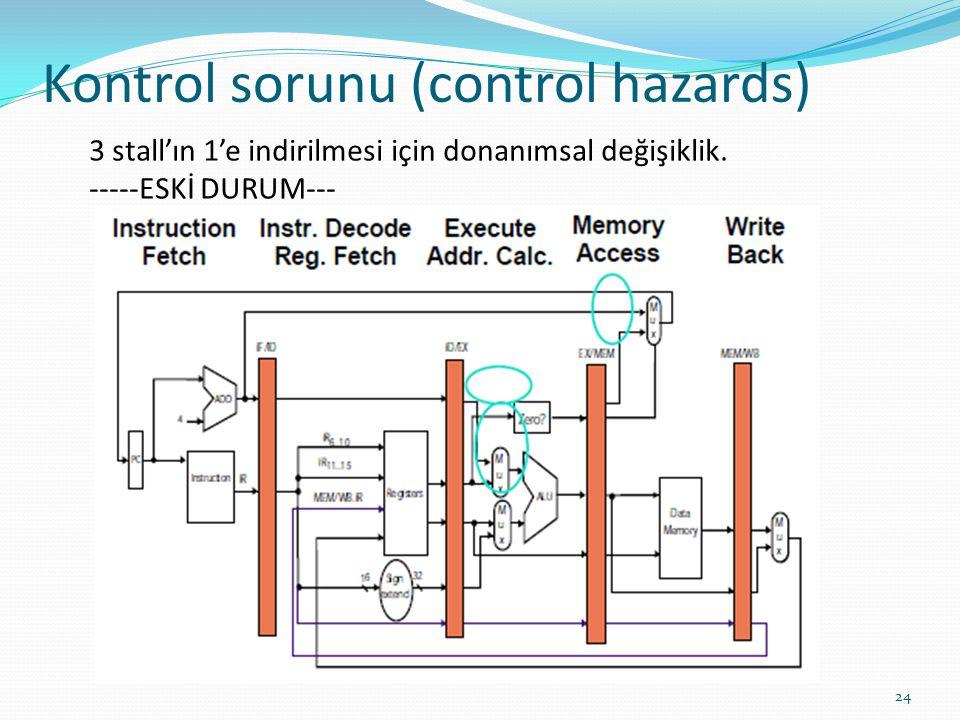 Kontrol sorunu (control hazards) 24 3 stall'ın 1'e indirilmesi için donanımsal değişiklik.