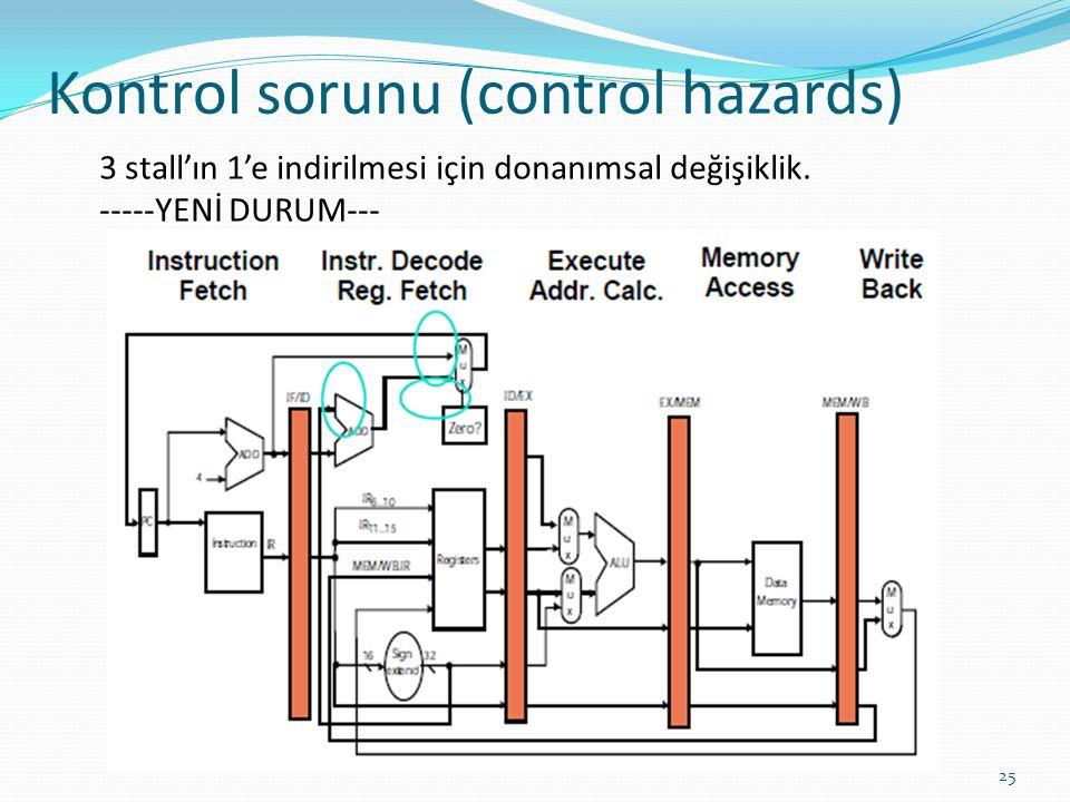 Kontrol sorunu (control hazards) 25 3 stall'ın 1'e indirilmesi için donanımsal değişiklik.