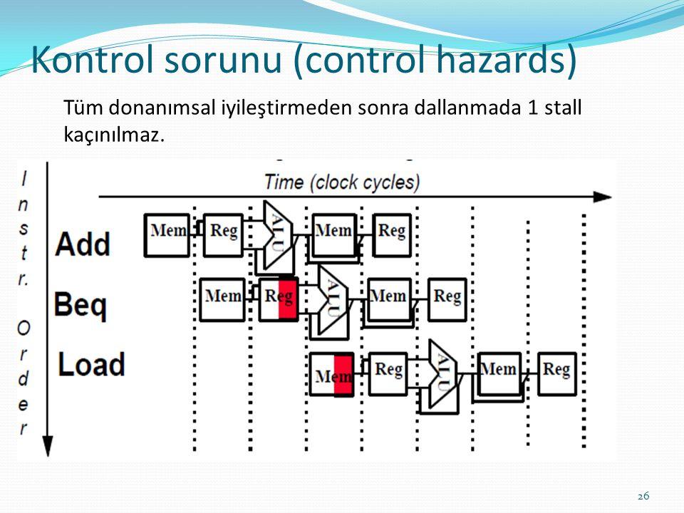 Kontrol sorunu (control hazards) 26 Tüm donanımsal iyileştirmeden sonra dallanmada 1 stall kaçınılmaz.