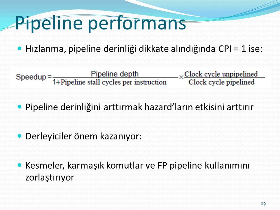 Pipeline performans Hızlanma, pipeline derinliği dikkate alındığında CPI = 1 ise: Pipeline derinliğini arttırmak hazard'ların etkisini arttırır Derleyiciler önem kazanıyor: Kesmeler, karmaşık komutlar ve FP pipeline kullanımını zorlaştırıyor 29