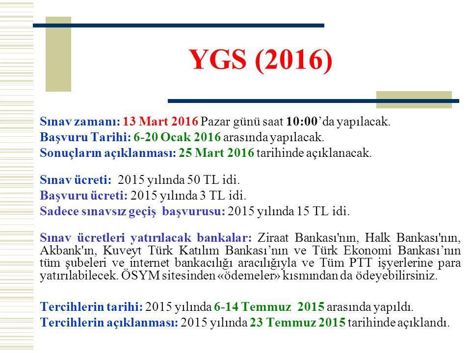 YGS (2016) Sınav zamanı: 13 Mart 2016 Pazar günü saat 10:00'da yapılacak.