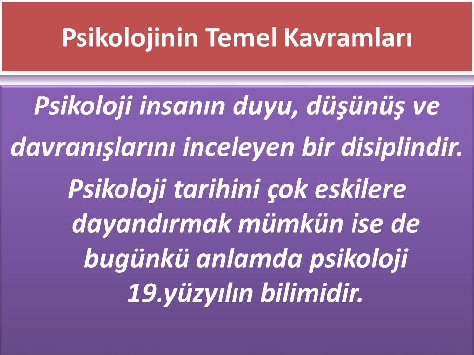 www.cemalsahin.comwww.cemalsahin.co m 18 Psikolojinin Temel Kavramları Psikoloji insanın duyu, düşünüş ve davranışlarını inceleyen bir disiplindir. Ps