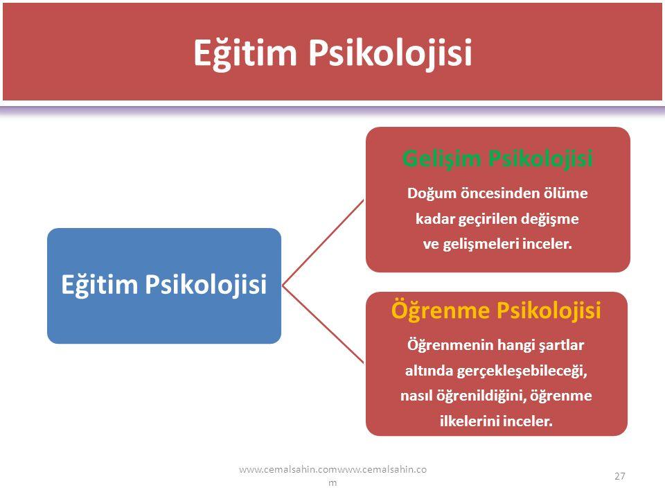 www.cemalsahin.comwww.cemalsahin.co m 27 Eğitim Psikolojisi Gelişim Psikolojisi Doğum öncesinden ölüme kadar geçirilen değişme ve gelişmeleri inceler.