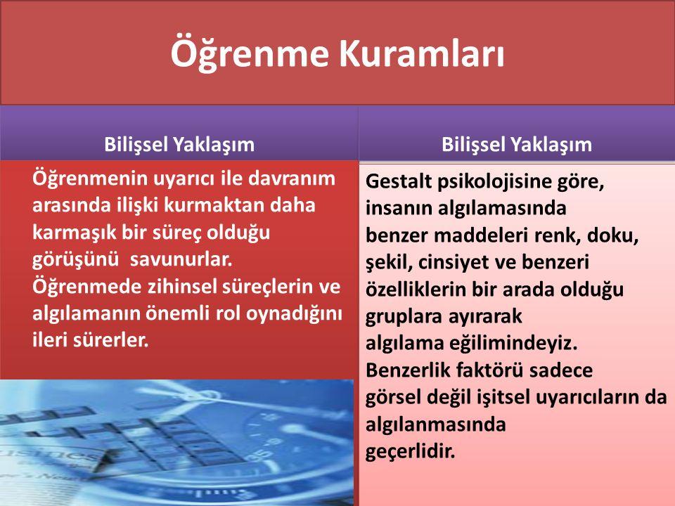 www.cemalsahin.comwww.cemalsahin.co m 44 Öğrenme Kuramları Gestalt psikolojisine göre, insanın algılamasında benzer maddeleri renk, doku, şekil, cinsi