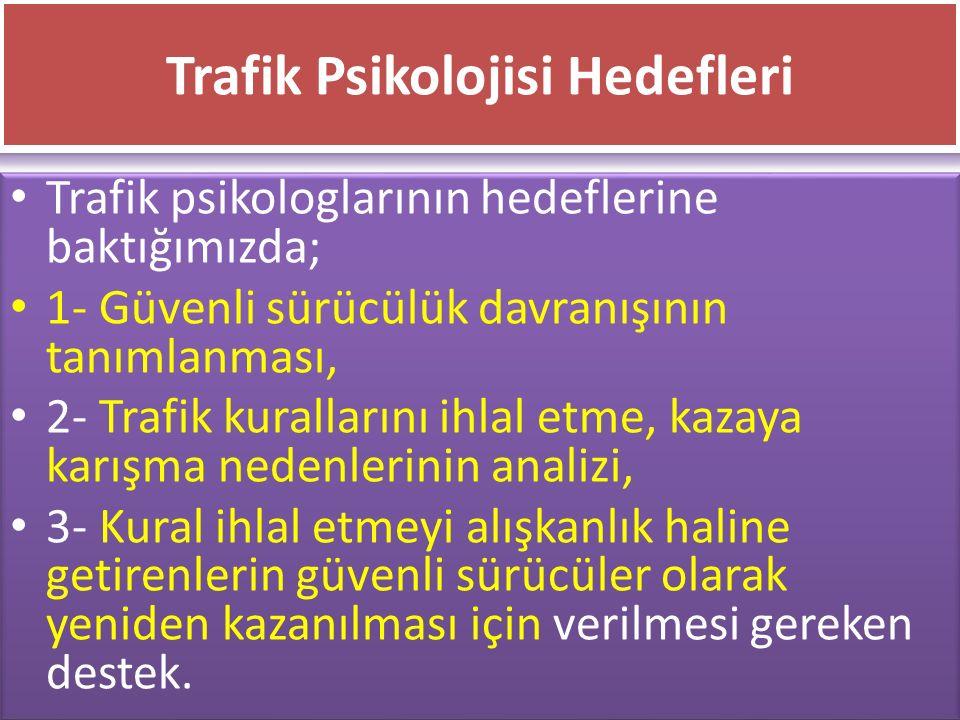 www.cemalsahin.comwww.cemalsahin.co m 54 Trafik Psikolojisi Hedefleri Trafik psikologlarının hedeflerine baktığımızda; 1- Güvenli sürücülük davranışın