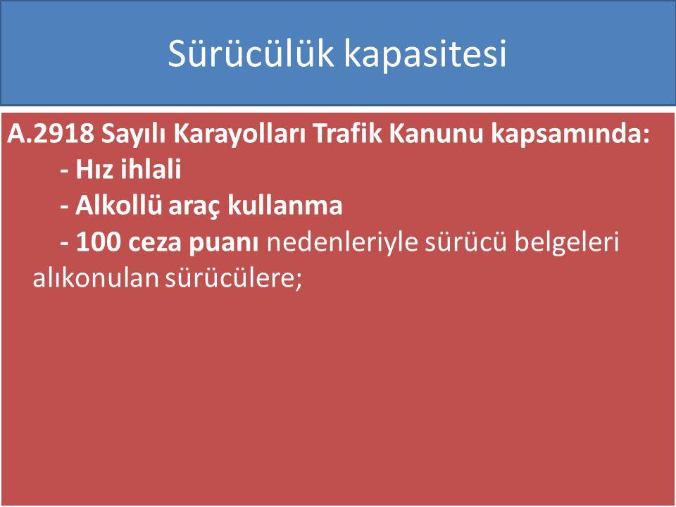 www.cemalsahin.comwww.cemalsahin.co m 61 Sürücülük kapasitesi A.2918 Sayılı Karayolları Trafik Kanunu kapsamında: - Hız ihlali - Alkollü araç kullanma - 100 ceza puanı nedenleriyle sürücü belgeleri alıkonulan sürücülere;