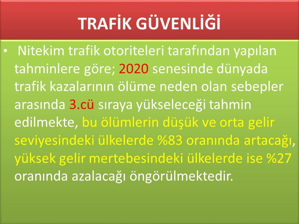 www.cemalsahin.comwww.cemalsahin.co m 84 TRAFİK GÜVENLİĞİ Nitekim trafik otoriteleri tarafından yapılan tahminlere göre; 2020 senesinde dünyada trafik