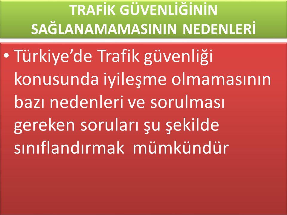 www.cemalsahin.comwww.cemalsahin.co m 89 TRAFİK GÜVENLİĞİNİN SAĞLANAMAMASININ NEDENLERİ Türkiye'de Trafik güvenliği konusunda iyileşme olmamasının baz