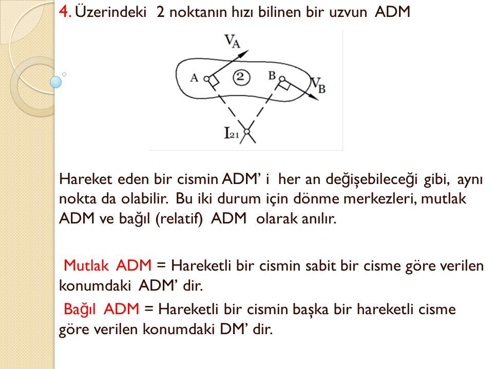 4. Üzerindeki 2 noktanın hızı bilinen bir uzvun ADM Hareket eden bir cismin ADM' i her an de ğ işebilece ğ i gibi, aynı nokta da olabilir. Bu iki duru