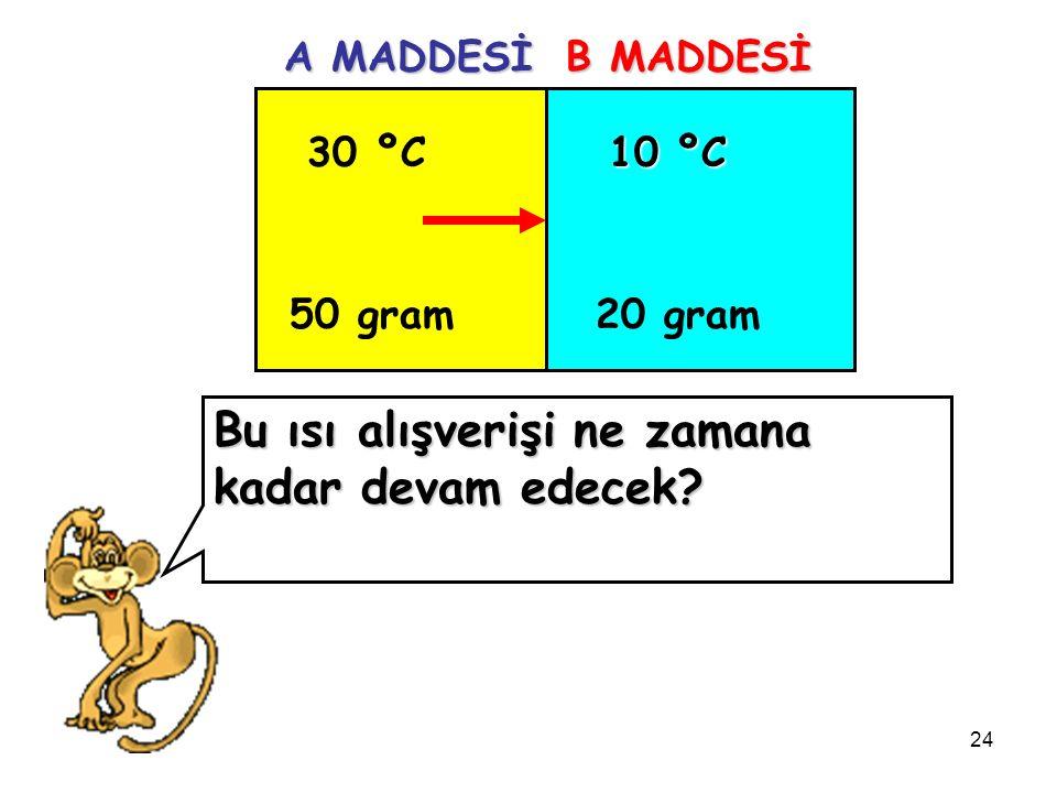 24 30 ºC 50 gram 10 ºC 20 gram A MADDESİ B MADDESİ Bu ısı alışverişi ne zamana kadar devam edecek