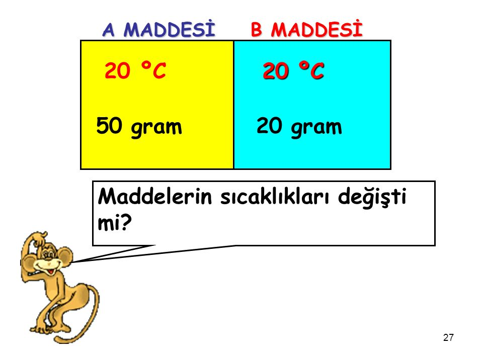 27 20 ºC 50 gram 20 ºC 20 gram A MADDESİ B MADDESİ Maddelerin sıcaklıkları değişti mi