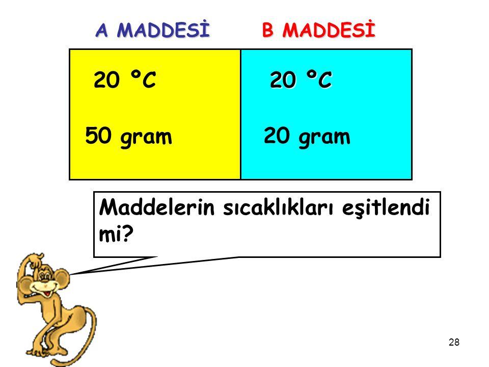 28 20 ºC 50 gram 20 ºC 20 gram A MADDESİ B MADDESİ Maddelerin sıcaklıkları eşitlendi mi