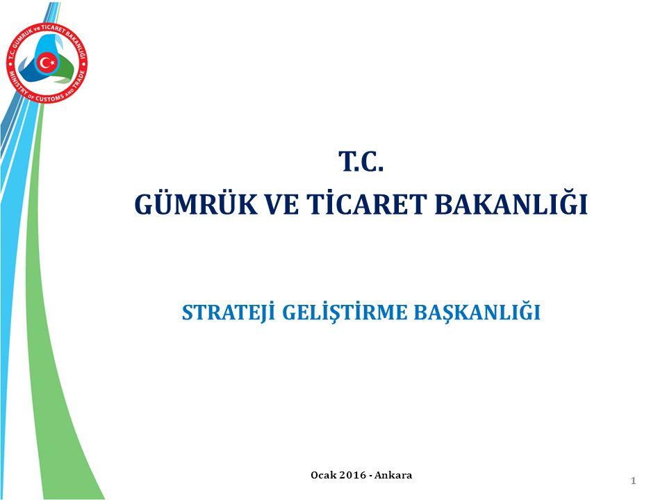 1 T.C. GÜMRÜK VE TİCARET BAKANLIĞI Ocak 2016 - Ankara STRATEJİ GELİŞTİRME BAŞKANLIĞI