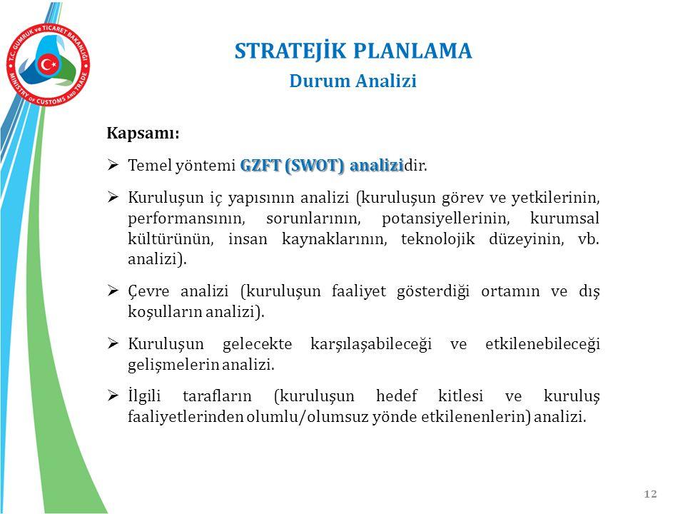 12 Kapsamı: GZFT (SWOT) analizi  Temel yöntemi GZFT (SWOT) analizidir.  Kuruluşun iç yapısının analizi (kuruluşun görev ve yetkilerinin, performansı