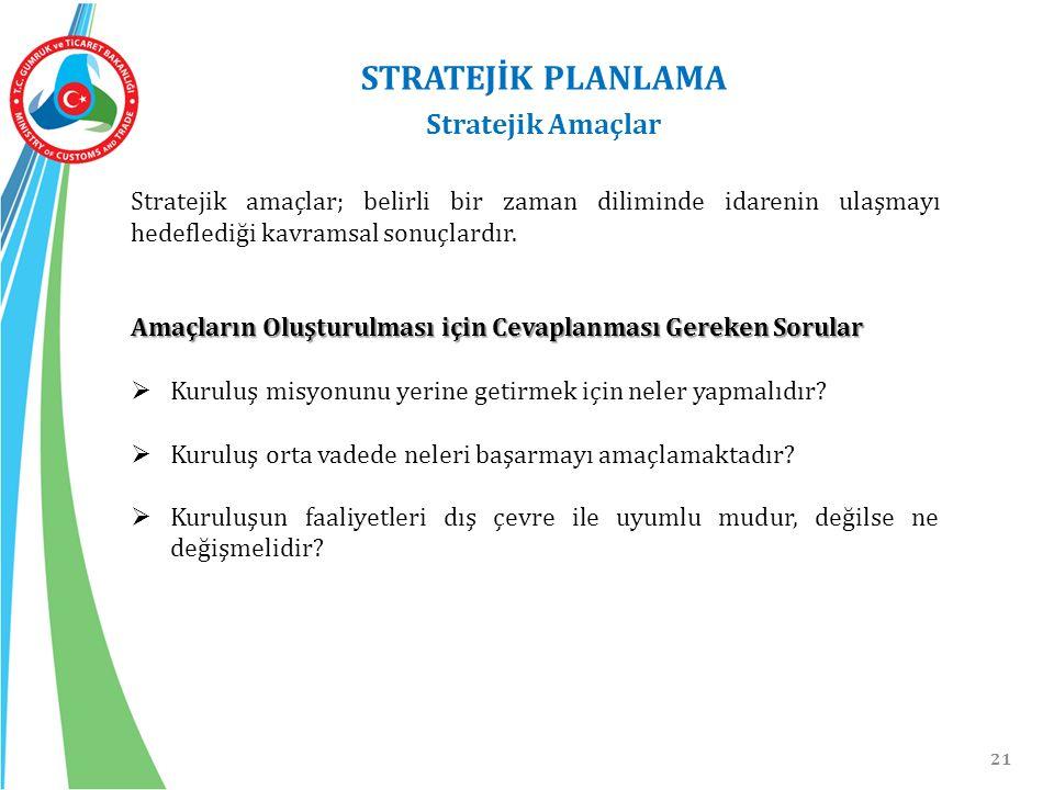 21 STRATEJİK PLANLAMA Stratejik Amaçlar Stratejik amaçlar; belirli bir zaman diliminde idarenin ulaşmayı hedeflediği kavramsal sonuçlardır. Amaçların