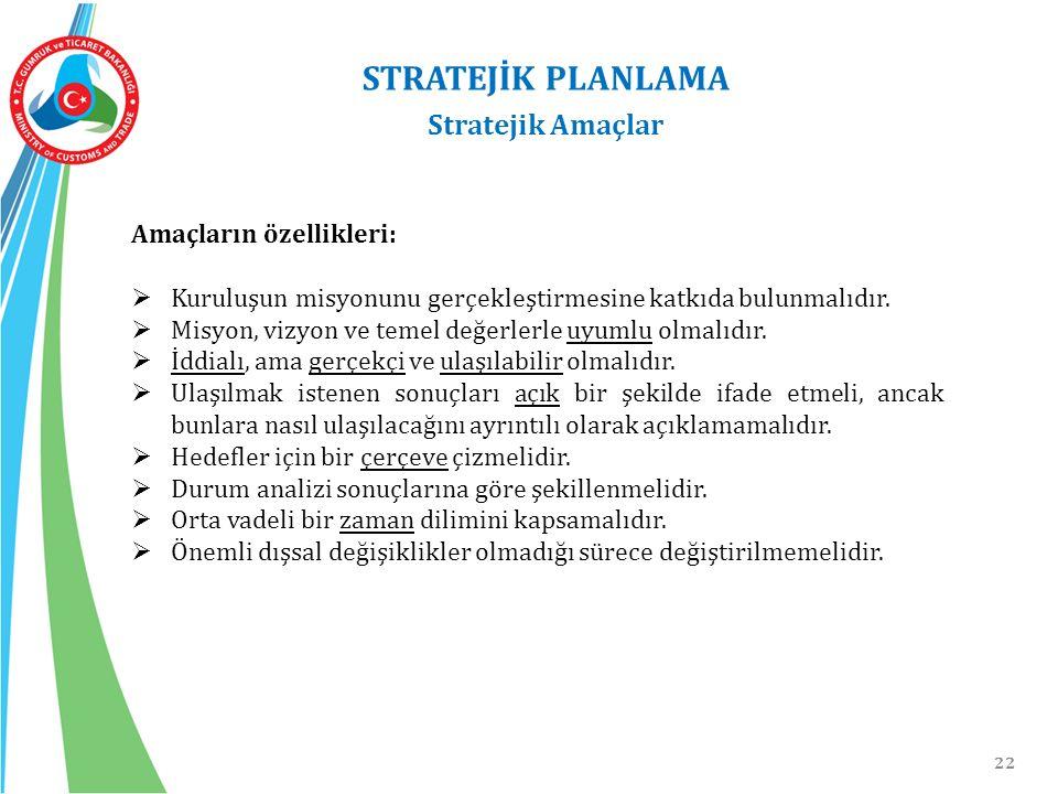 22 STRATEJİK PLANLAMA Stratejik Amaçlar Amaçların özellikleri:  Kuruluşun misyonunu gerçekleştirmesine katkıda bulunmalıdır.  Misyon, vizyon ve teme