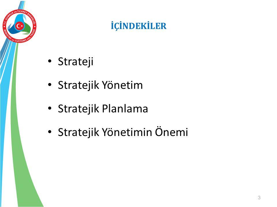 İÇİNDEKİLER Strateji Stratejik Yönetim Stratejik Planlama Stratejik Yönetimin Önemi 3
