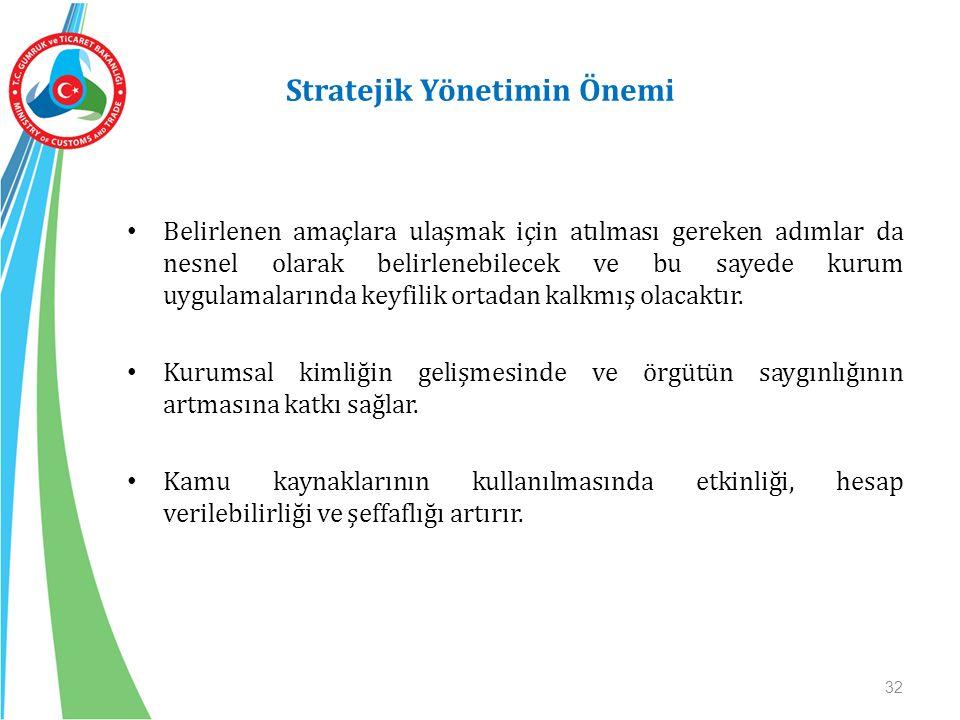 Stratejik Yönetimin Önemi Belirlenen amaçlara ulaşmak için atılması gereken adımlar da nesnel olarak belirlenebilecek ve bu sayede kurum uygulamaların