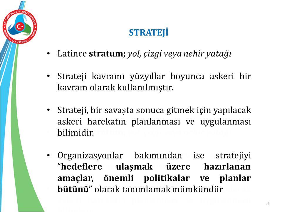4 STRATEJİ Latince stratum; yol, çizgi veya nehir yatağı Strateji kavramı yüzyıllar boyunca askeri bir kavram olarak kullanılmıştır. Strateji, bir sav