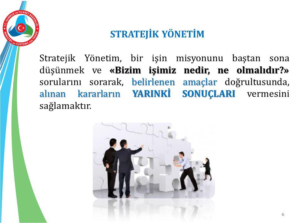 6 «Bizim işimiz nedir, ne olmalıdır?» belirlenen amaçlar alınan kararların YARINKİ SONUÇLARI Stratejik Yönetim, bir işin misyonunu baştan sona düşünme