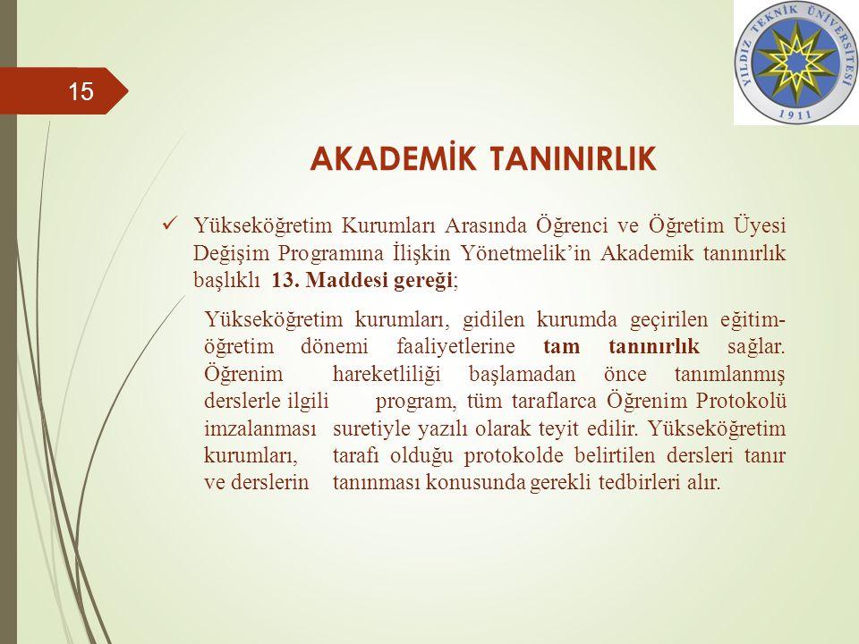 AKADEMİK TANINIRLIK Yükseköğretim Kurumları Arasında Öğrenci ve Öğretim Üyesi Değişim Programına İlişkin Yönetmelik'in Akademik tanınırlık başlıklı 13.
