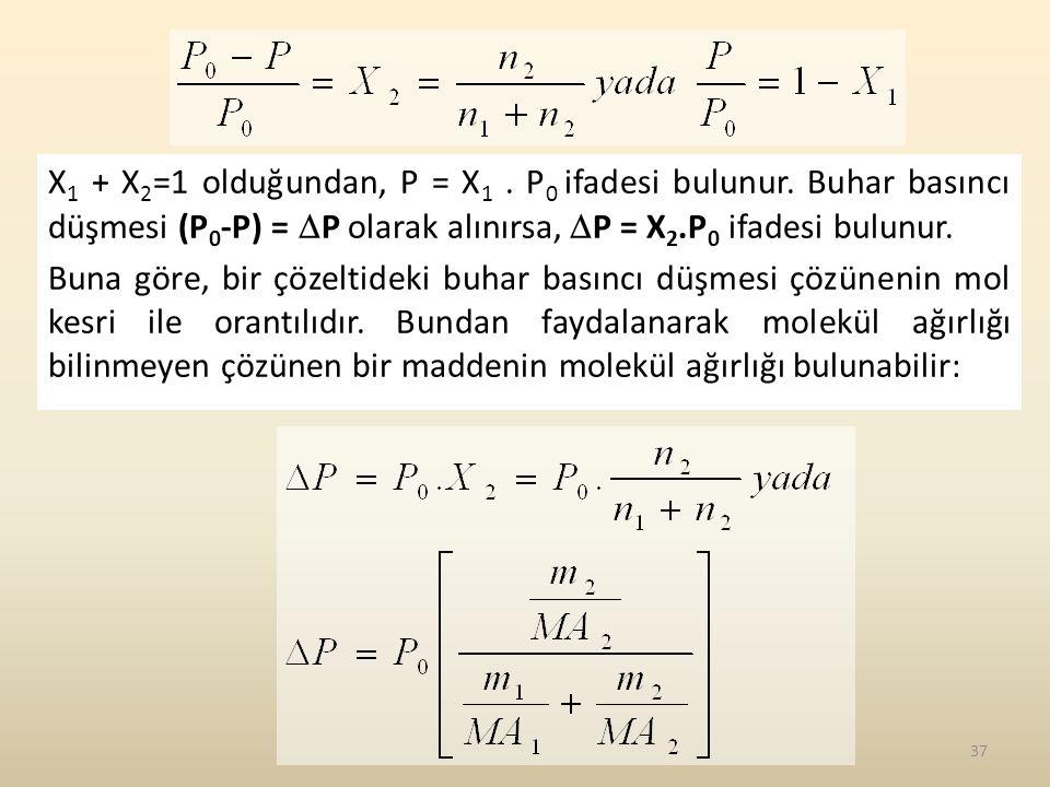 X 1 + X 2 =1 olduğundan, P = X 1. P 0 ifadesi bulunur. Buhar basıncı düşmesi (P 0 -P) =  P olarak alınırsa,  P = X 2.P 0 ifadesi bulunur. Buna göre,