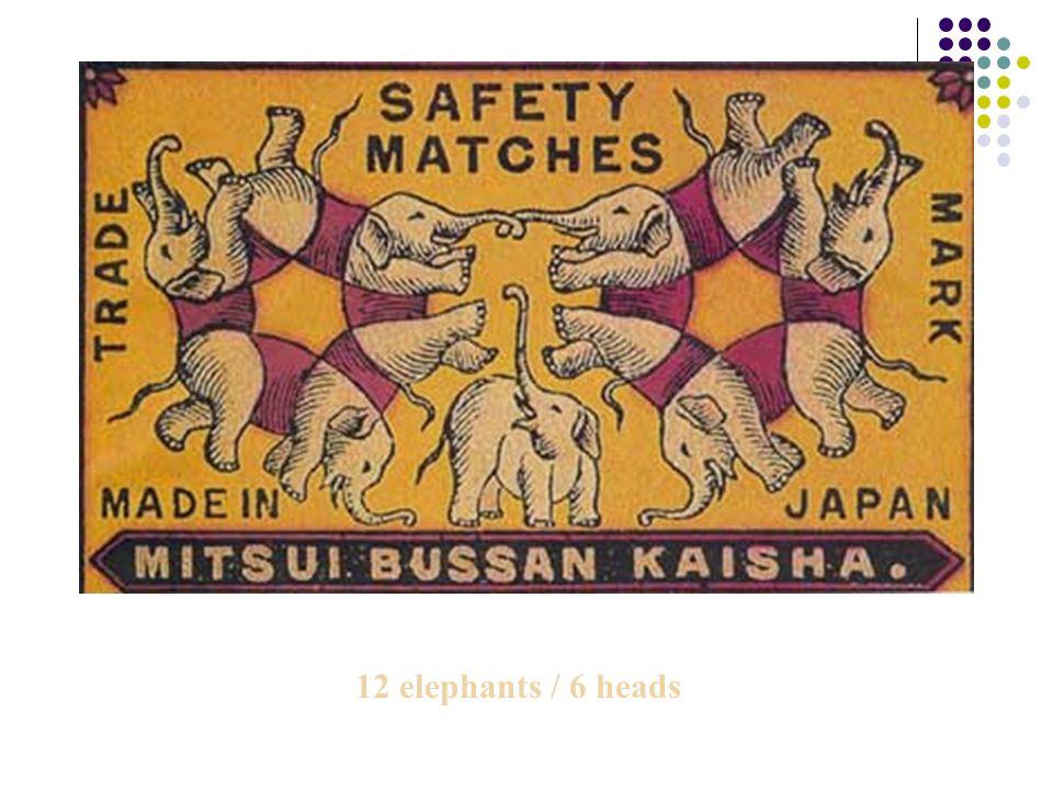 12 elephants / 6 heads
