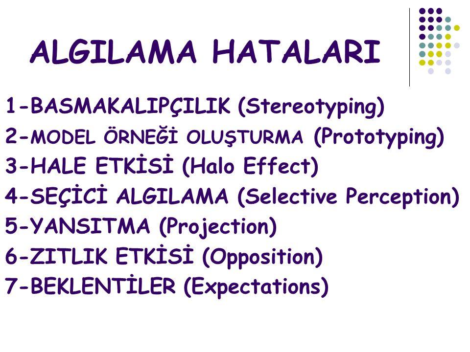 ALGILAMA HATALARI 1-BASMAKALIPÇILIK (Stereotyping) 2- MODEL ÖRNEĞİ OLUŞTURMA (Prototyping) 3-HALE ETKİSİ (Halo Effect) 4-SEÇİCİ ALGILAMA (Selective Pe