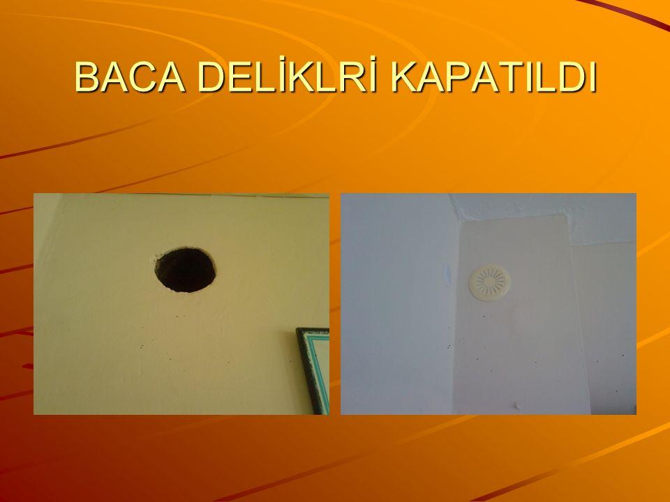 BACA DELİKLRİ KAPATILDI