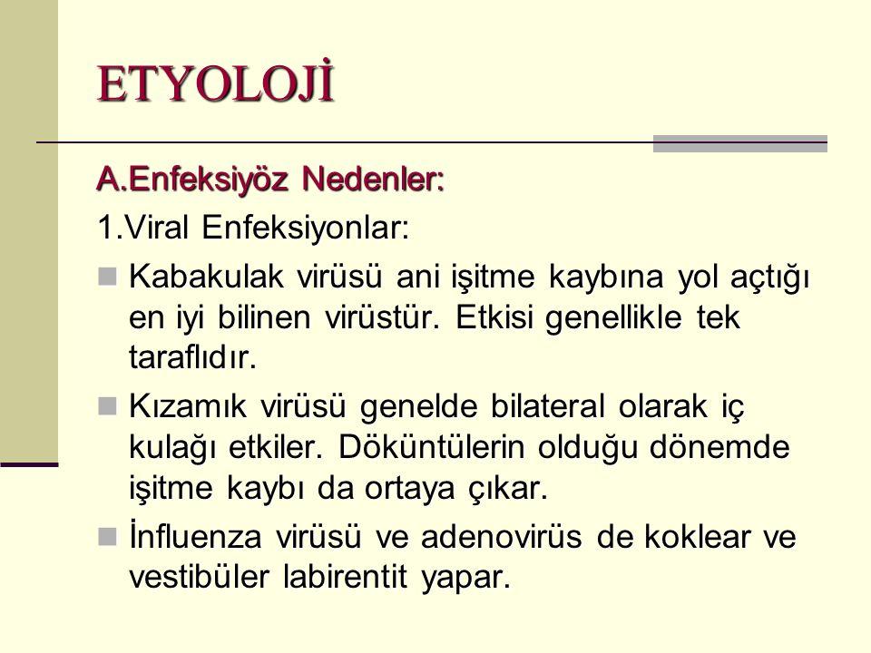 ETYOLOJİ A.Enfeksiyöz Nedenler: 1.Viral Enfeksiyonlar: Kabakulak virüsü ani işitme kaybına yol açtığı en iyi bilinen virüstür.