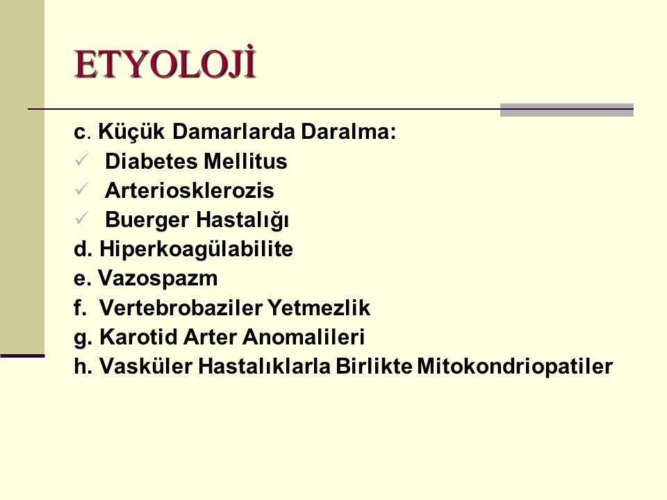 ETYOLOJİ.c. Küçük Damarlarda Daralma: Diabetes Mellitus Arteriosklerozis Buerger Hastalığı d.
