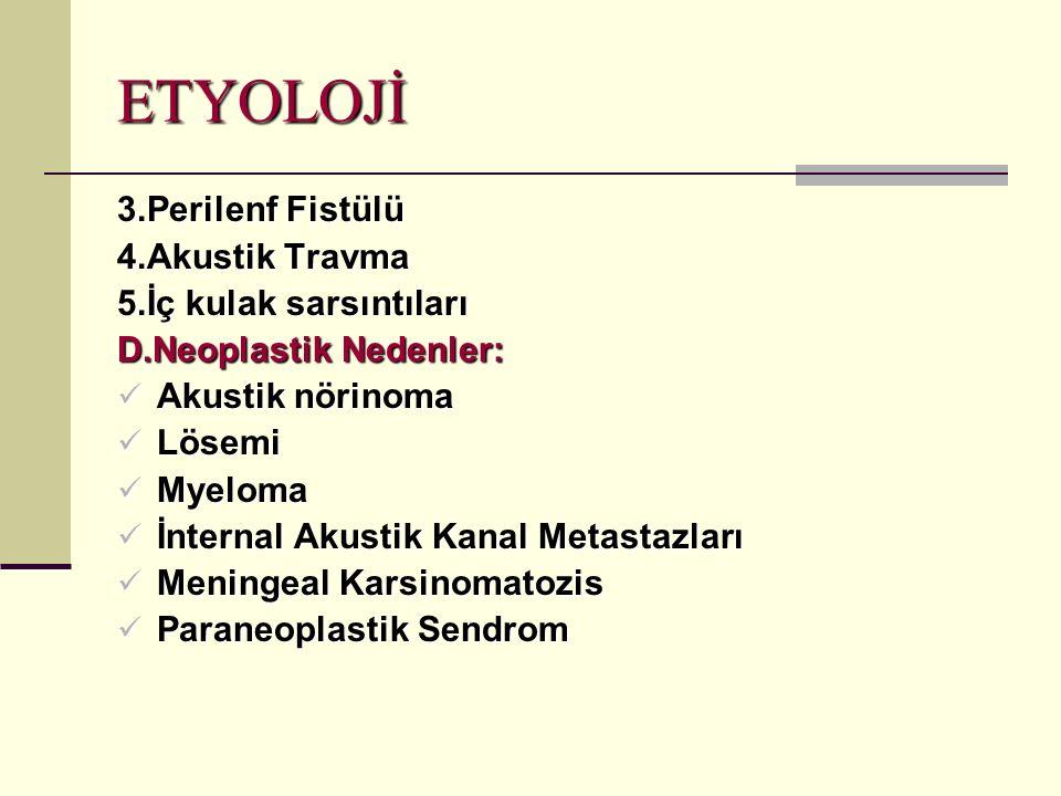 ETYOLOJİ 3.Perilenf Fistülü 4.Akustik Travma 5.İç kulak sarsıntıları D.Neoplastik Nedenler: Akustik nörinoma Akustik nörinoma Lösemi Lösemi Myeloma Myeloma İnternal Akustik Kanal Metastazları İnternal Akustik Kanal Metastazları Meningeal Karsinomatozis Meningeal Karsinomatozis Paraneoplastik Sendrom Paraneoplastik Sendrom