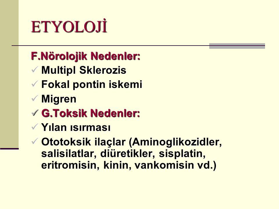 ETYOLOJİ F.Nörolojik Nedenler: Multipl Sklerozis Multipl Sklerozis Fokal pontin iskemi Fokal pontin iskemi Migren Migren G.Toksik Nedenler: G.Toksik Nedenler: Yılan ısırması Yılan ısırması Ototoksik ilaçlar (Aminoglikozidler, salisilatlar, diüretikler, sisplatin, eritromisin, kinin, vankomisin vd.) Ototoksik ilaçlar (Aminoglikozidler, salisilatlar, diüretikler, sisplatin, eritromisin, kinin, vankomisin vd.)