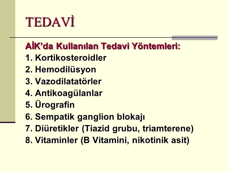 TEDAVİ AİK'da Kullanılan Tedavi Yöntemleri: 1.Kortikosteroidler 2.