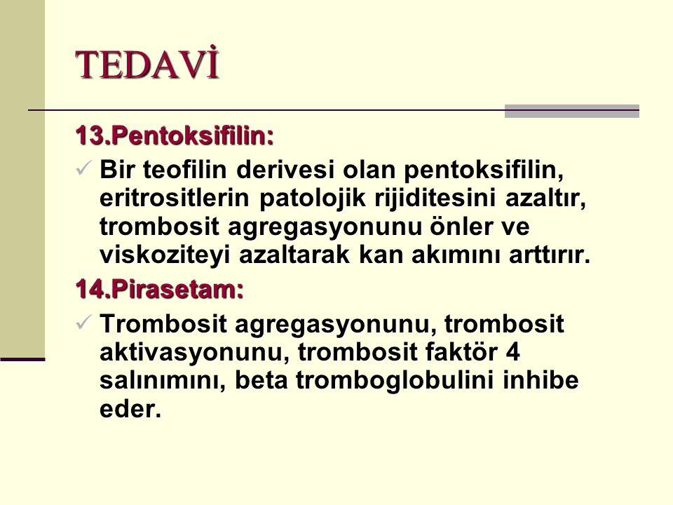 TEDAVİ 13.Pentoksifilin: Bir teofilin derivesi olan pentoksifilin, eritrositlerin patolojik rijiditesini azaltır, trombosit agregasyonunu önler ve viskoziteyi azaltarak kan akımını arttırır.