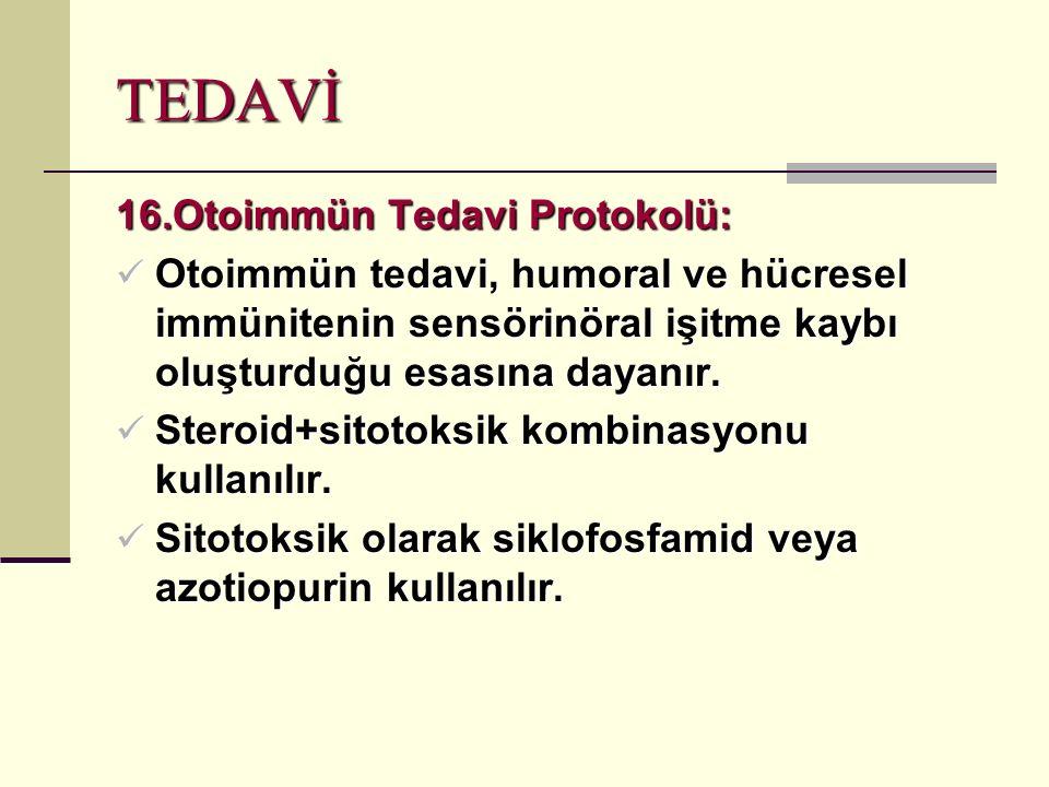 TEDAVİ 16.Otoimmün Tedavi Protokolü: Otoimmün tedavi, humoral ve hücresel immünitenin sensörinöral işitme kaybı oluşturduğu esasına dayanır.