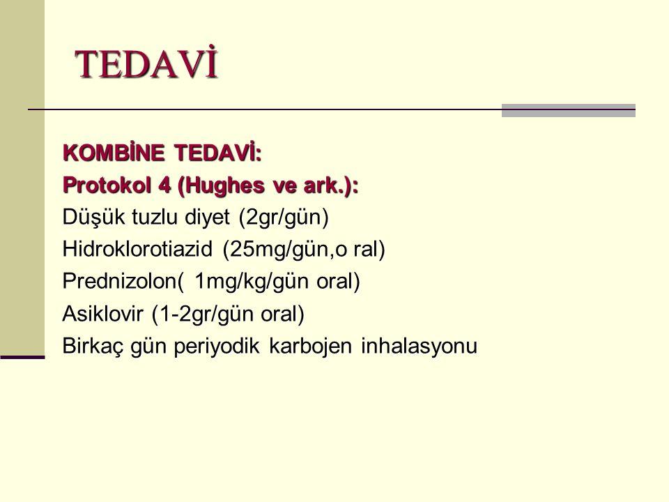 TEDAVİ KOMBİNE TEDAVİ: Protokol 4 (Hughes ve ark.): Düşük tuzlu diyet (2gr/gün) Hidroklorotiazid (25mg/gün,o ral) Prednizolon( 1mg/kg/gün oral) Asiklovir (1-2gr/gün oral) Birkaç gün periyodik karbojen inhalasyonu
