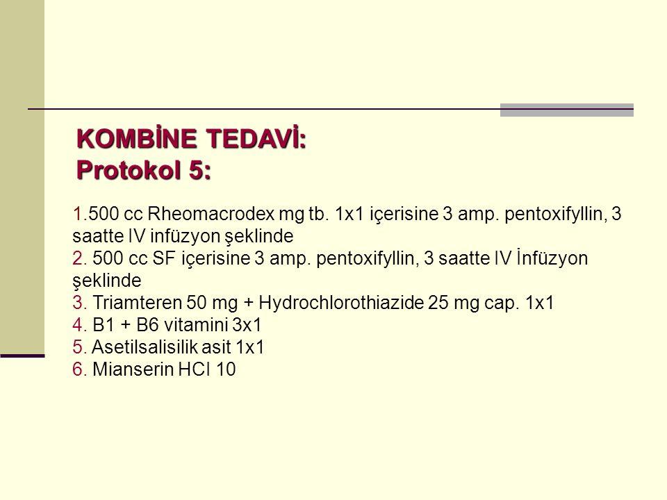 1.500 cc Rheomacrodex mg tb.1x1 içerisine 3 amp. pentoxifyllin, 3 saatte IV infüzyon şeklinde 2.