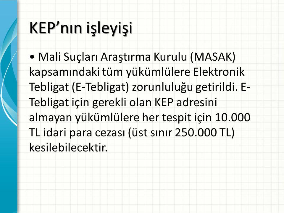 KEP'nın işleyişi Mali Suçları Araştırma Kurulu (MASAK) kapsamındaki tüm yükümlülere Elektronik Tebligat (E-Tebligat) zorunluluğu getirildi. E- Tebliga