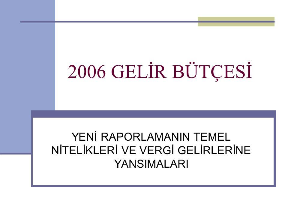 2 2006 YILINDA BÜTÇE GELİRLERİ 5018 Sayılı Kanun : Konsolide Bütçeden, Merkezi Yönetim Bütçesine Geçiş: Raporlamanın kapsamı genişlemektedir: Özel bütçeli kuruluşlar ve düzenleyici ve denetleyici kuruluşlar kavranmaktadır.