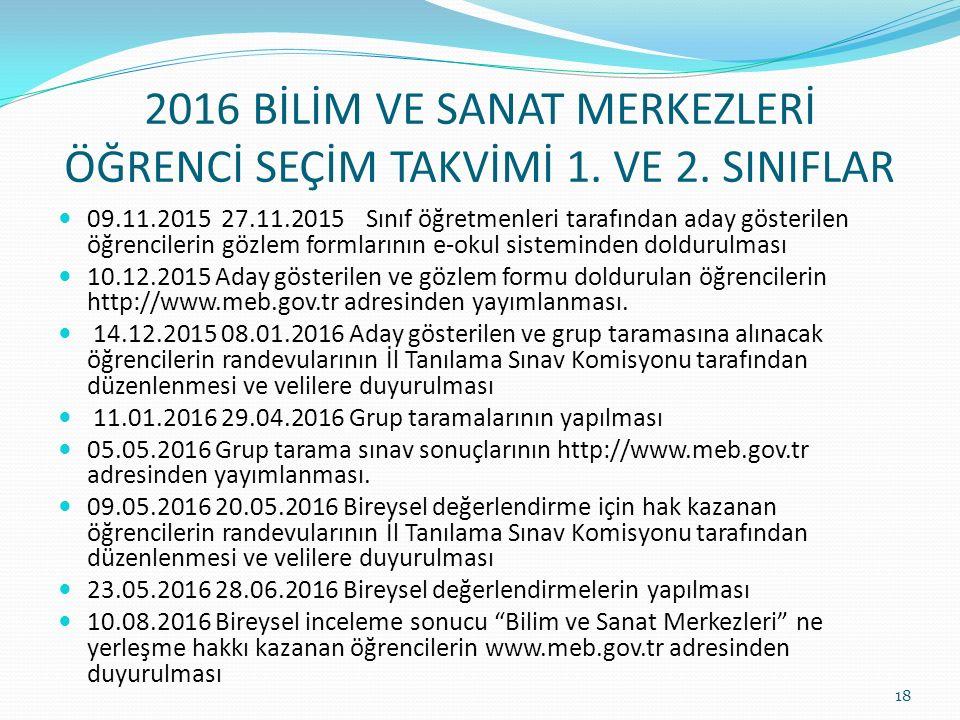 2016 BİLİM VE SANAT MERKEZLERİ ÖĞRENCİ SEÇİM TAKVİMİ 1.