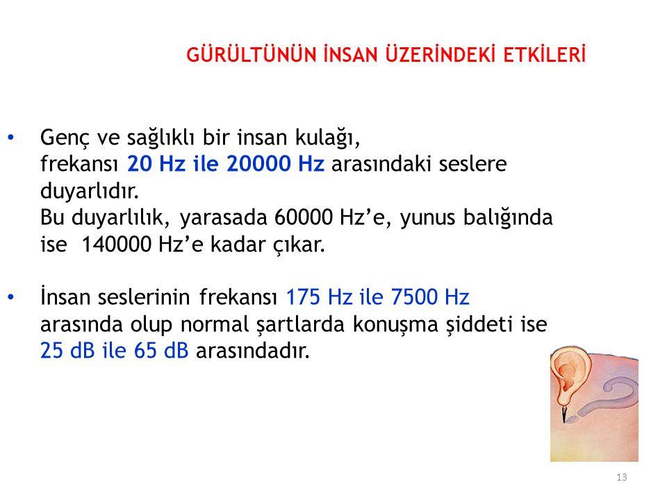 Genç ve sağlıklı bir insan kulağı, frekansı 20 Hz ile 20000 Hz arasındaki seslere duyarlıdır.