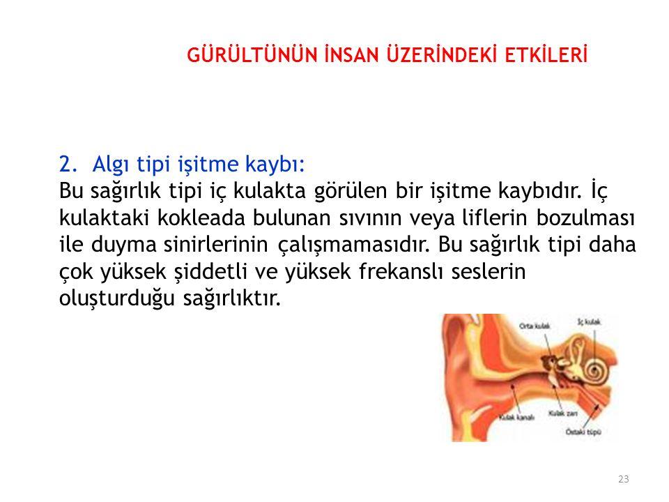2.Algı tipi işitme kaybı: Bu sağırlık tipi iç kulakta görülen bir işitme kaybıdır.