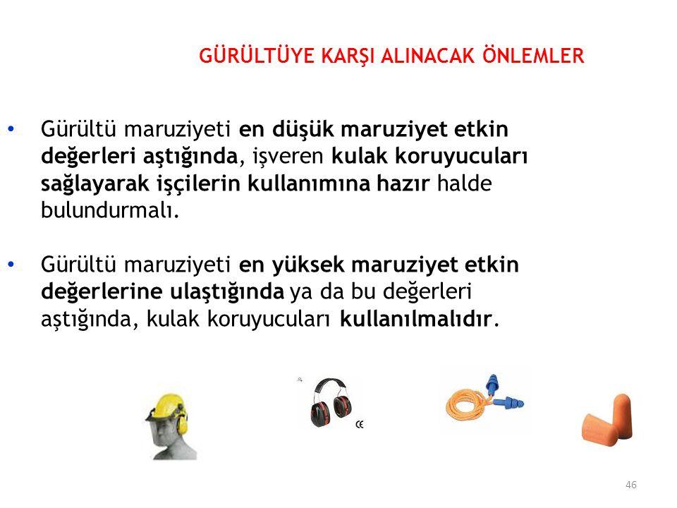 Gürültü maruziyeti en düşük maruziyet etkin değerleri aştığında, işveren kulak koruyucuları sağlayarak işçilerin kullanımına hazır halde bulundurmalı.