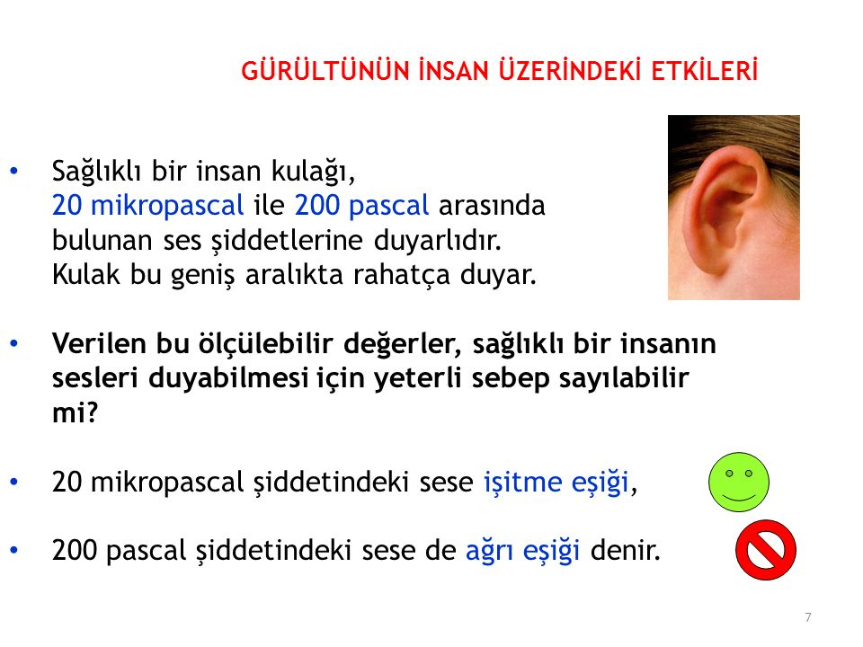 Sağlıklı bir insan kulağı, 20 mikropascal ile 200 pascal arasında bulunan ses şiddetlerine duyarlıdır.