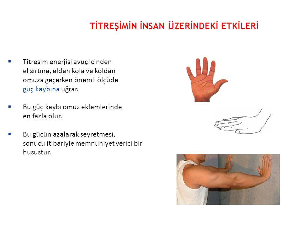  Titreşim enerjisi avuç içinden el sırtına, elden kola ve koldan omuza geçerken önemli ölçüde güç kaybına uğrar.