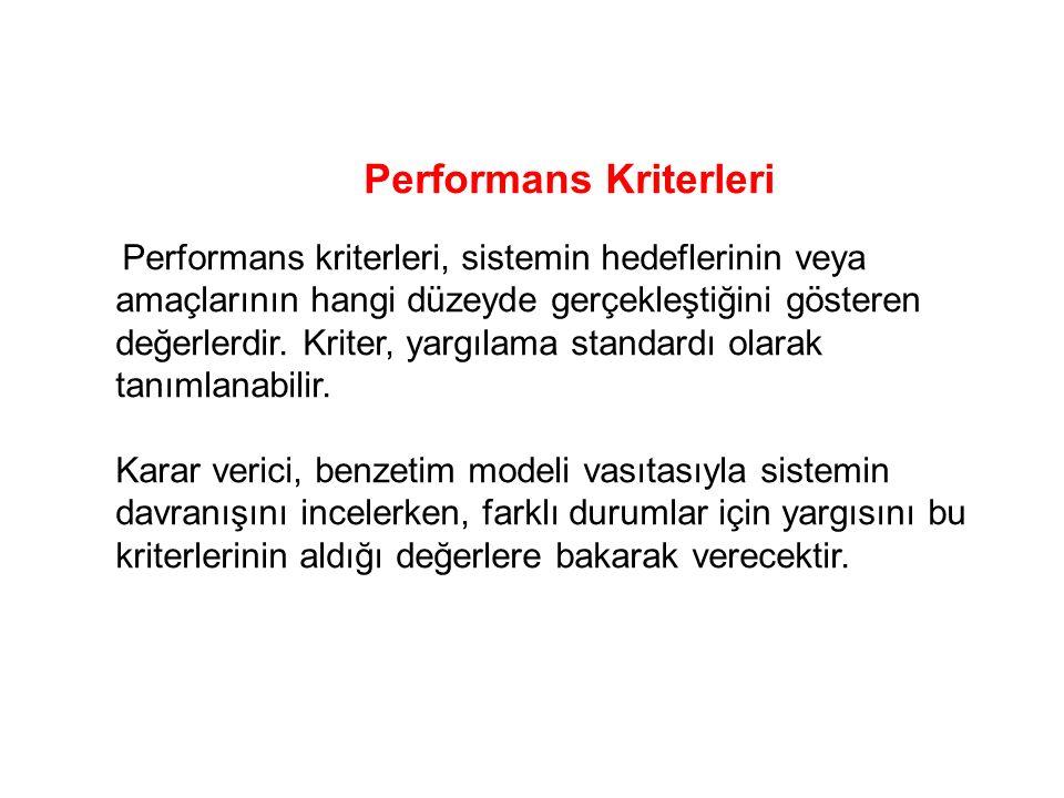 Performans Kriterleri Performans kriterleri, sistemin hedeflerinin veya amaçlarının hangi düzeyde gerçekleştiğini gösteren değerlerdir.