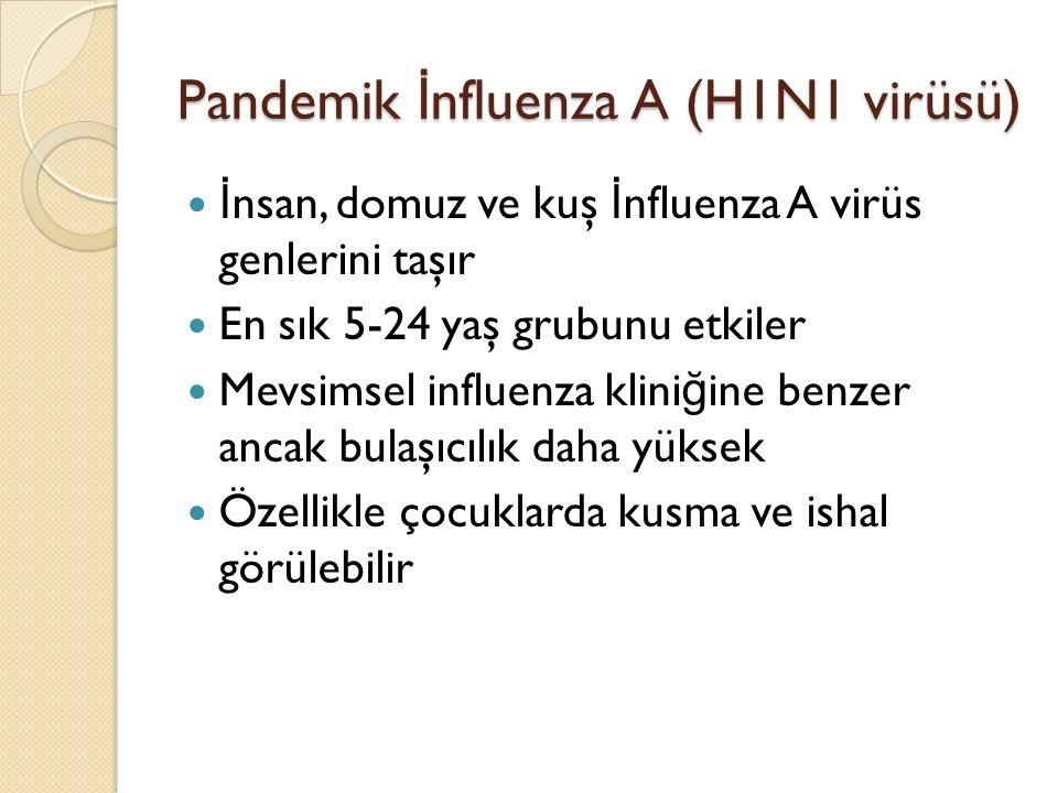 Pandemik İ nfluenza A (H1N1 virüsü) İ nsan, domuz ve kuş İ nfluenza A virüs genlerini taşır En sık 5-24 yaş grubunu etkiler Mevsimsel influenza klini ğ ine benzer ancak bulaşıcılık daha yüksek Özellikle çocuklarda kusma ve ishal görülebilir