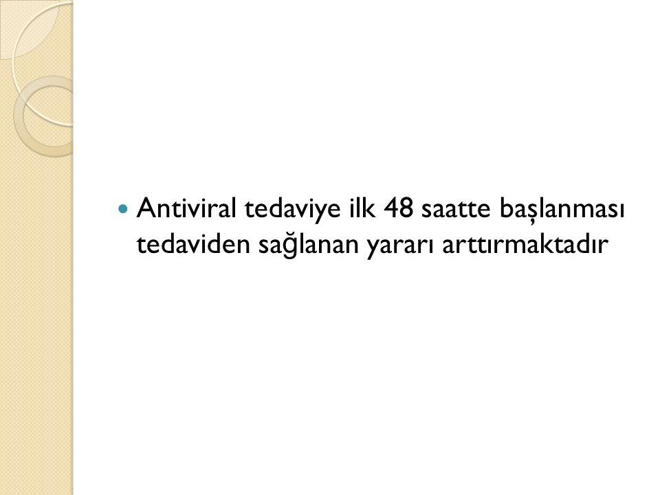 Antiviral tedaviye ilk 48 saatte başlanması tedaviden sa ğ lanan yararı arttırmaktadır
