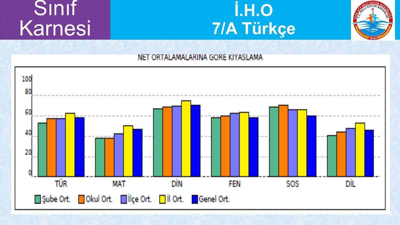 İ.H.O 7/A Türkçe Sınıf Karnesi